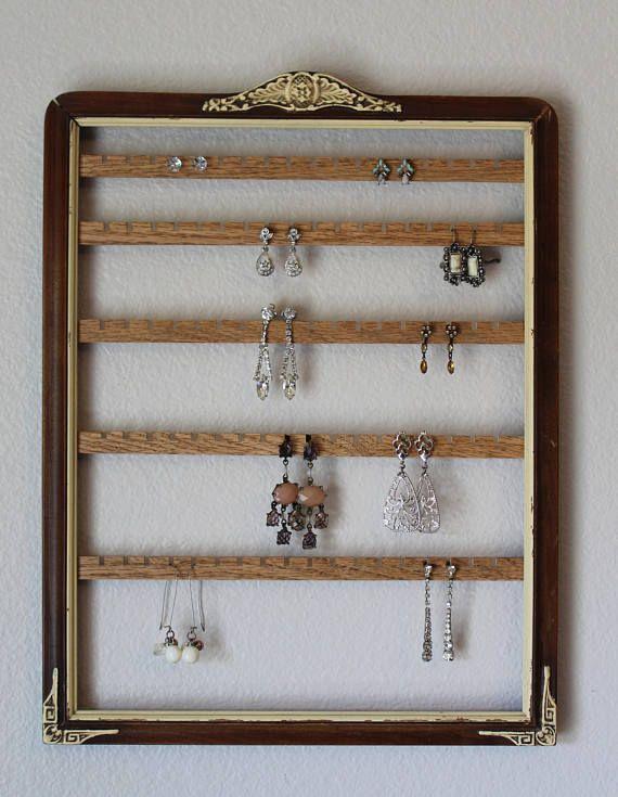 Hanging Jewelry Organizer Frame Wall Mount Earring Organizer