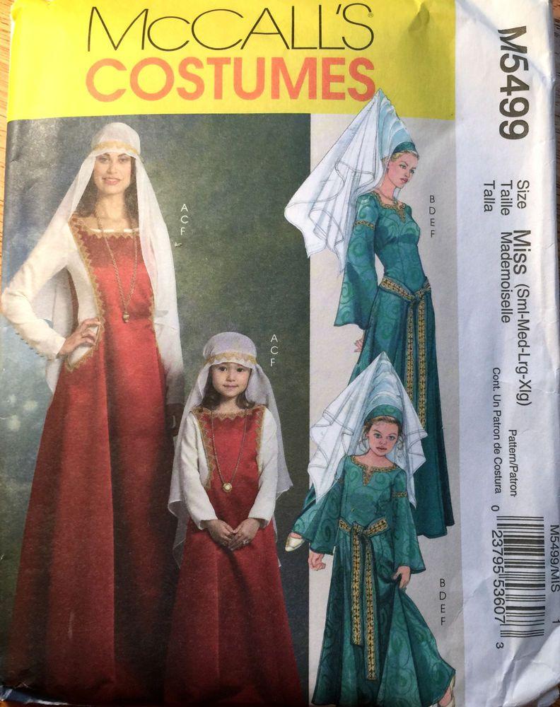 McCall\'s Costume Pattern M5499 Miss Size S M L XL Uncut Medieval ...