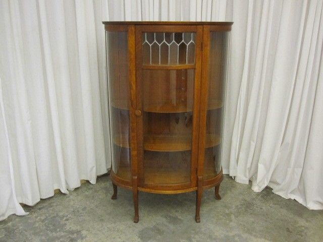 Antique China Curio Cabinet Hutch w Leaded Glass Panel Curved Sides ¼ Sawn  Oak - Antique China Curio Cabinet Hutch W Leaded Glass Panel Curved