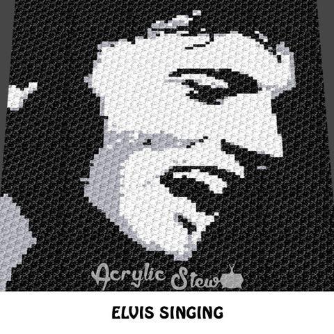 Elvis Rock N\' Roll Musician C2C crochet blanket pattern; afghan ...