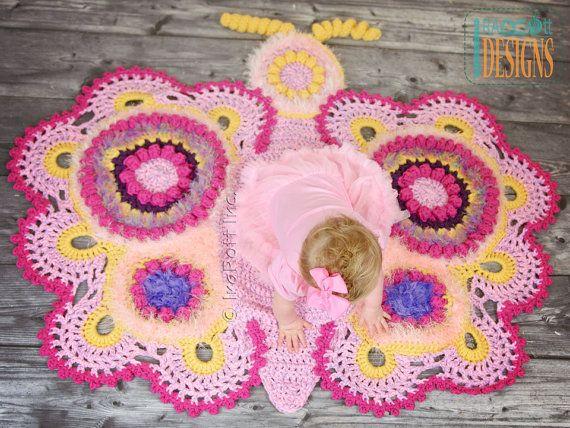 Crochet Pattern Cathy The Butterfly Rug Nursery Mat Carpet Pdf