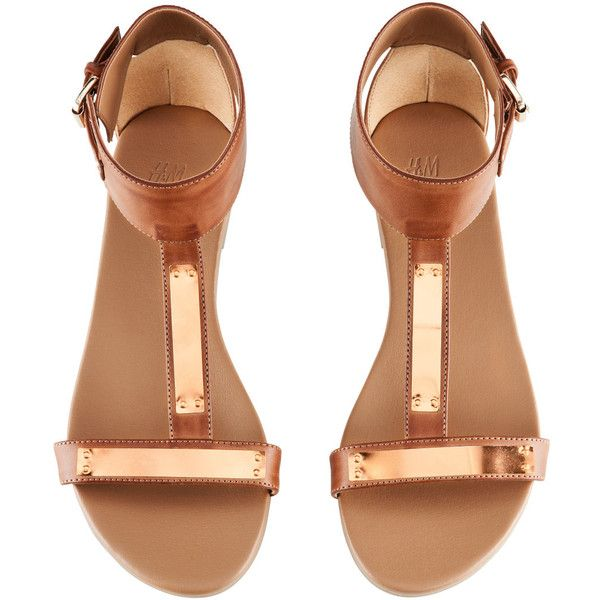 H&M Sandals ($38) ❤ liked on Polyvore featuring shoes, sandals, flats, ·  Gold Flat SandalsRose ...