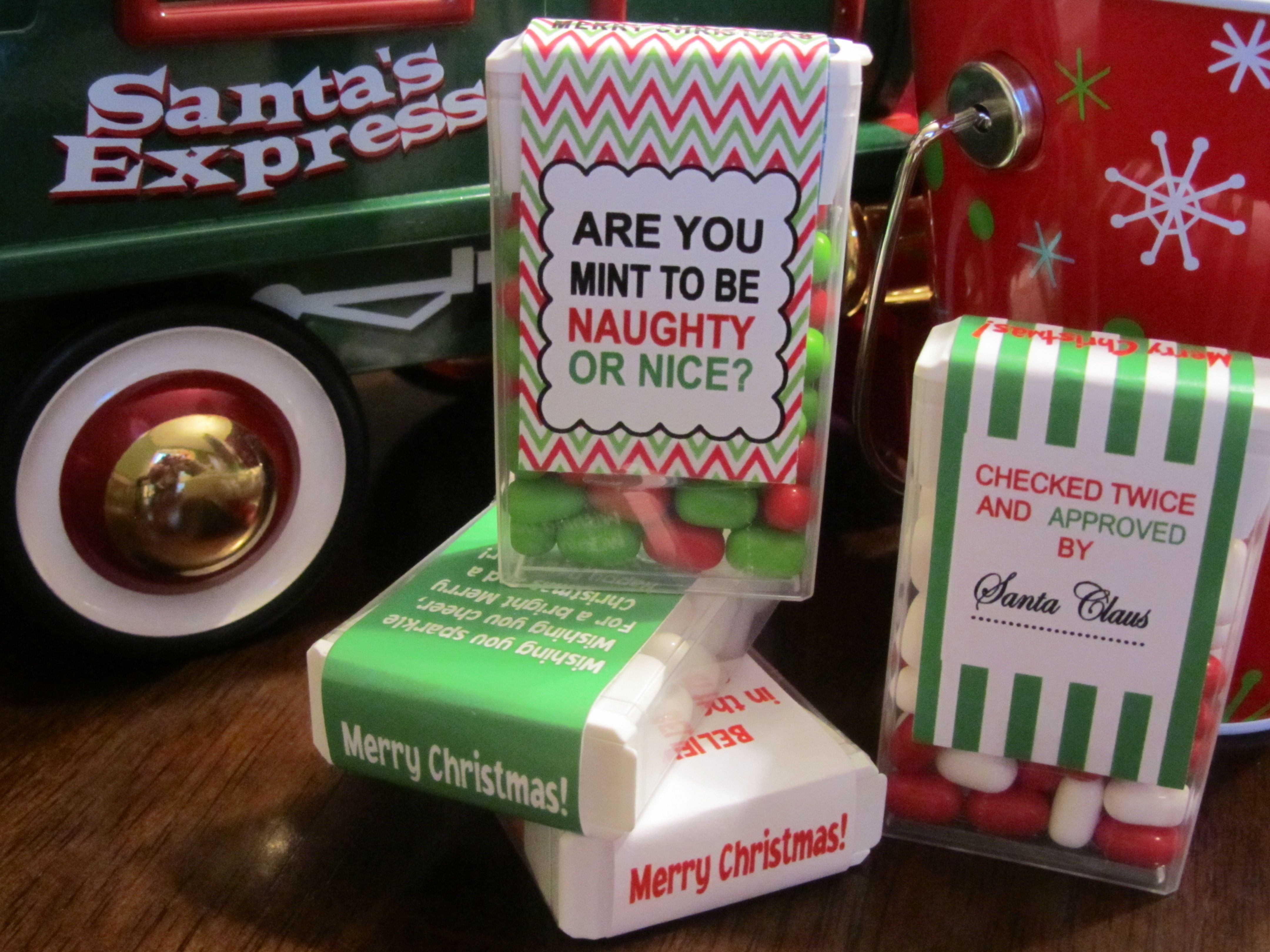 these naughty or nice christmas tic tac labels would be a super cute idea for a secret santa gift or an elf on the shelf gift