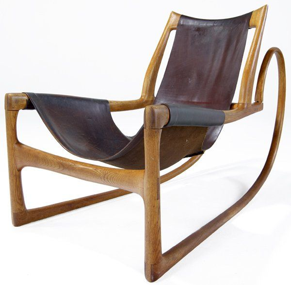 Wendell Castle Sculpted Oak and Leather Sleigh Chair 1963