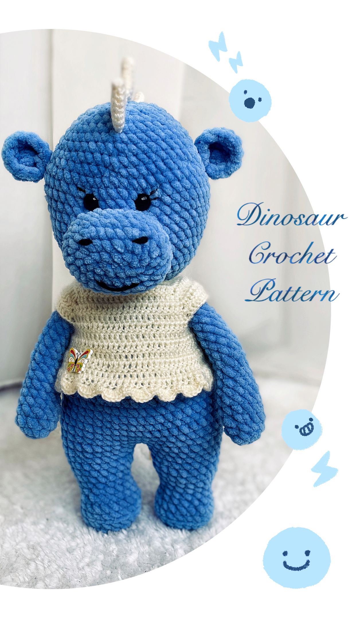 Crochet Blue Dragon Plush / Crochet Dinosaur Amigurumi | Etsy