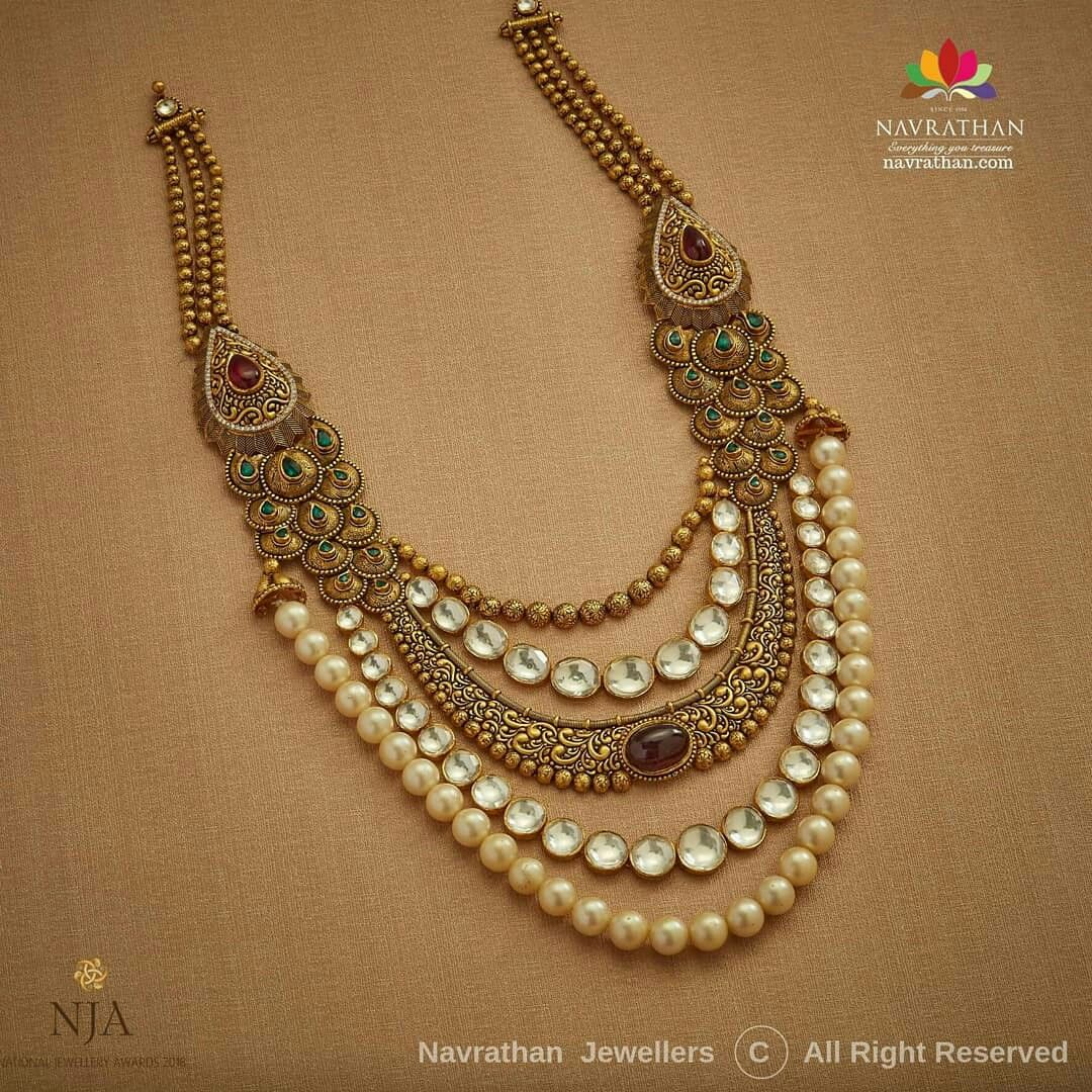 Navrathan Jewellers The Expansive Range Of Jewellery At All Our Stores Is Inspired By T Antique Gold Jewelry Indian Gold Fashion Necklace Gold Jewelry Fashion