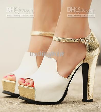 Wholesale Dress Shoes - Buy Sandals Quality White Gold Wedding Bride ...