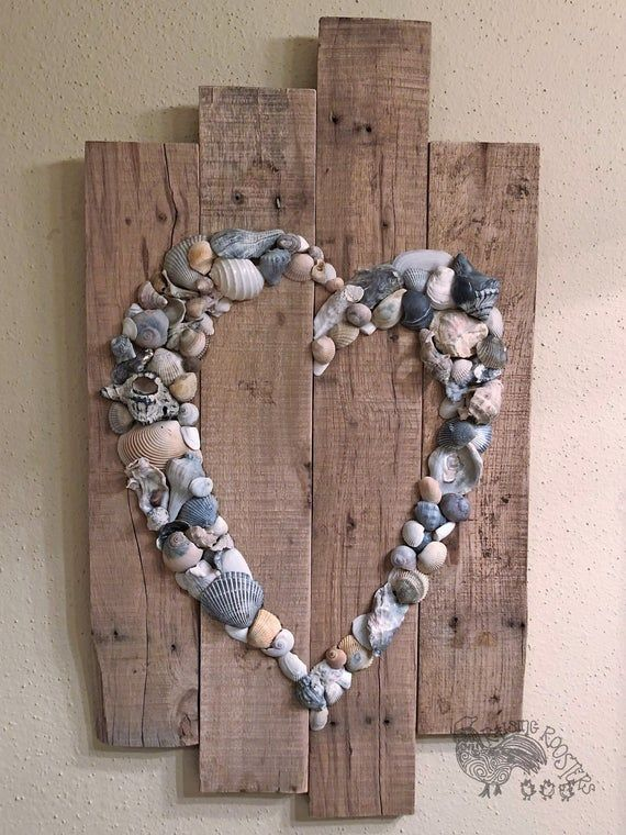Photo of Shell Heart Sign- Beach Sign- Shell Art- Beach Wedding Sign- Anniversary Gift- Beach House- Wedding Guest Book #beachhouse