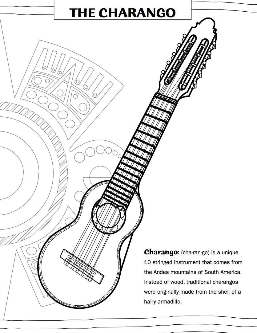 Mexican Guitar Coloring Page