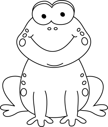 Black and White Cartoon Frog Clip Art | march classroom ideas ...