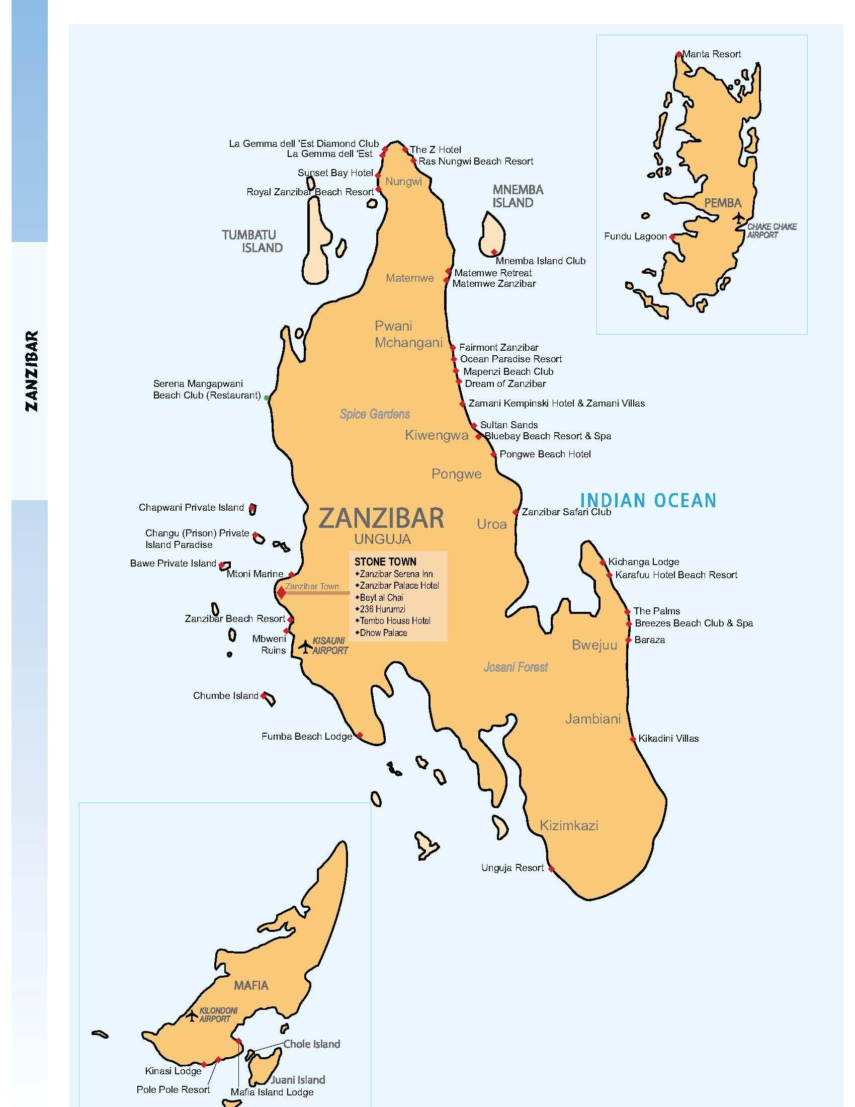 Map of Zanzibar Zanzibar Pinterest Africa