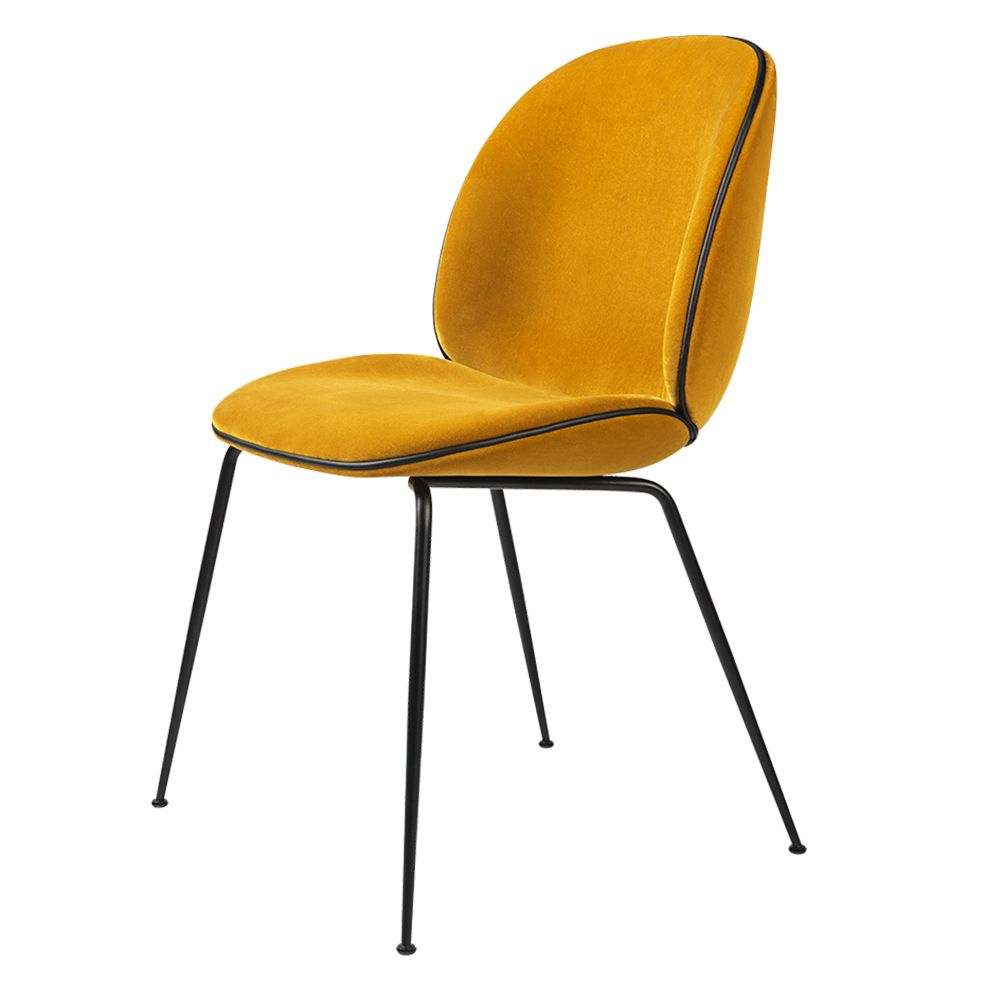 Beetle Upholstered Dining Chair Yellow Velvet Black Leather Piping Black Legs Beetle Chair Gubi Beetle Chair Gubi Beetle Dining Chair