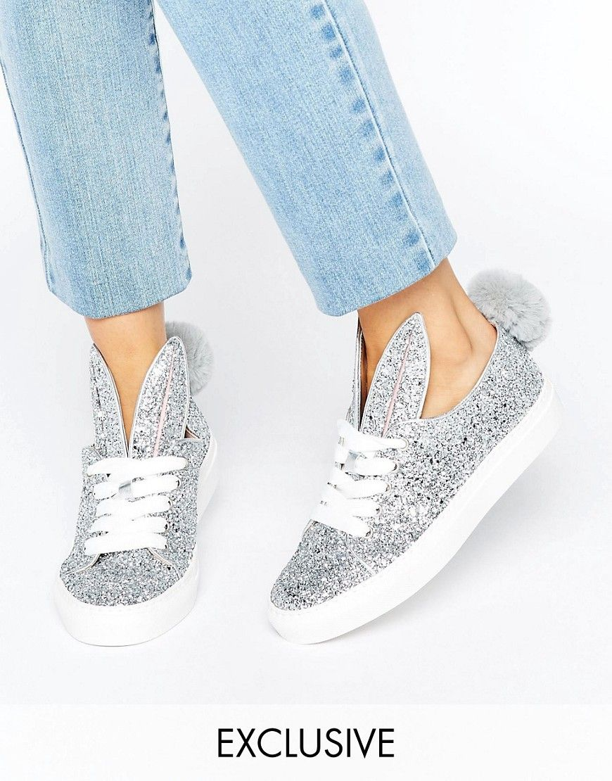 Minna Parikka Silver Glitter Leather Bunny Ears & Tail Sneakers at asos.com.  Women Shoes ...