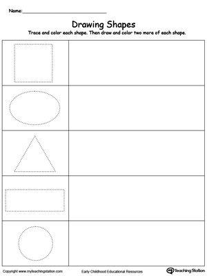 Early Childhood Shapes Worksheets Shapes Worksheets Practice Drawing Shapes Kindergarten Worksheets