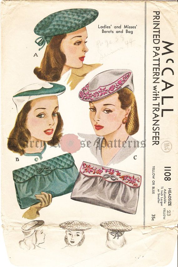 McCall 1108 Misses\' Vintage 1940s Embroidered Hats and Bags Sewing ...