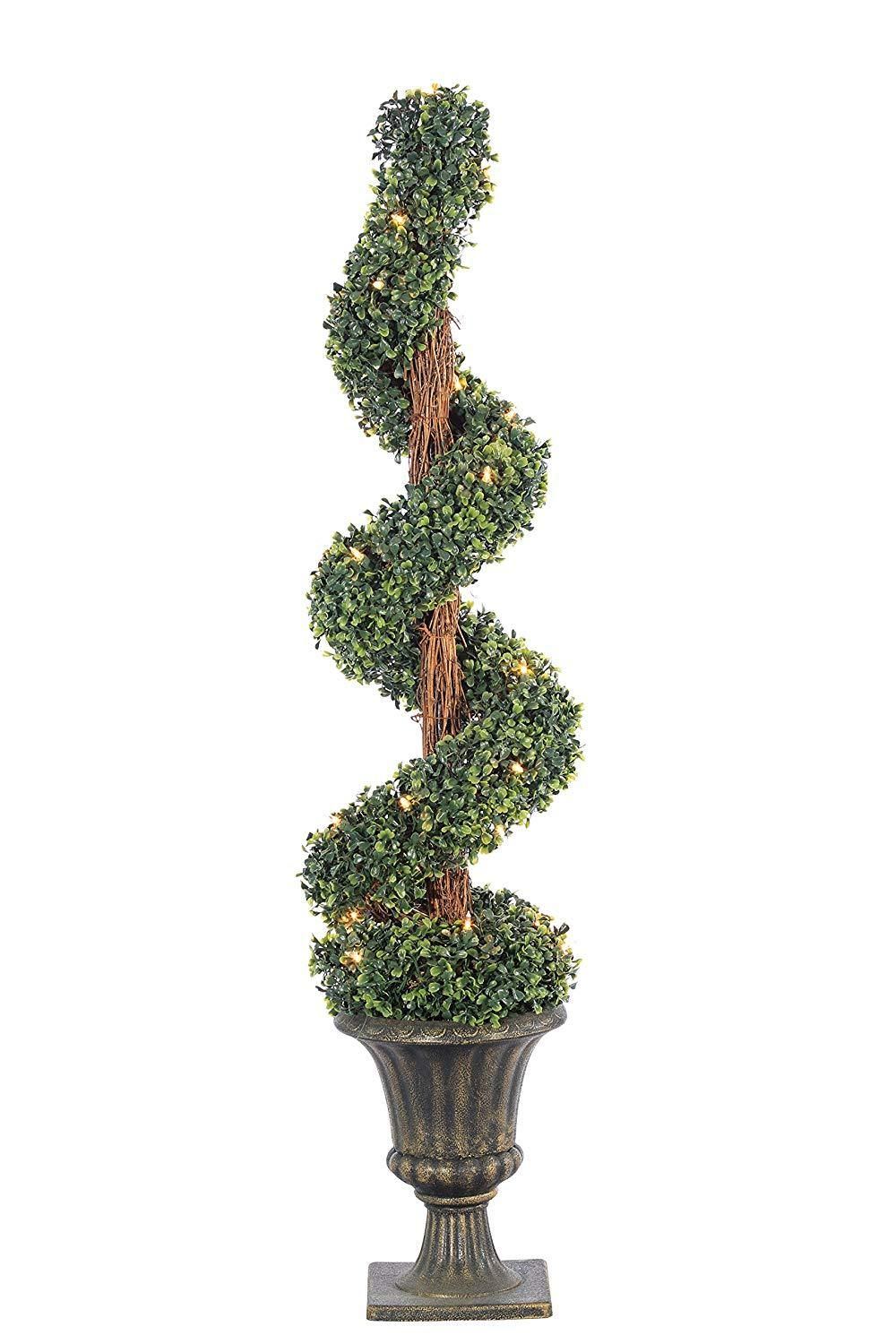 Sterling 4 Potted Artificial Boxwood Spiral Lighted Topiary Tree 5216 40c Spiral Tree Spiral Christmas Tree Artificial Boxwood