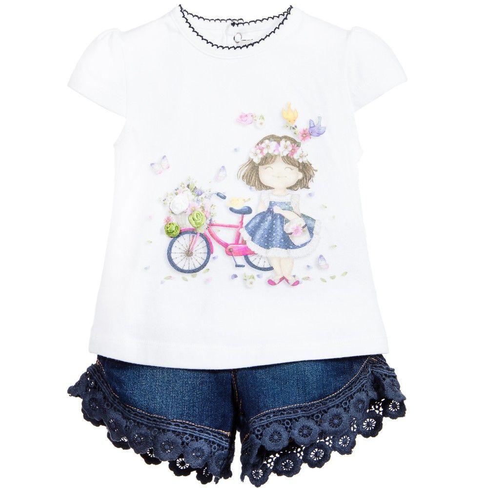 dc6bcf08234d Mayoral Baby Girls 2 Piece Top   Denim Shorts Set at Childrensalon ...
