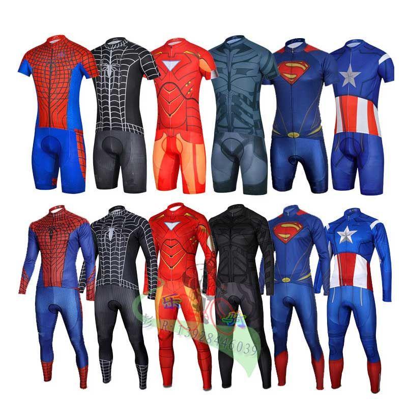 Buy Super Hero Iron man Superman Spiderman Batman cycling jersey men ... b30a97e1e