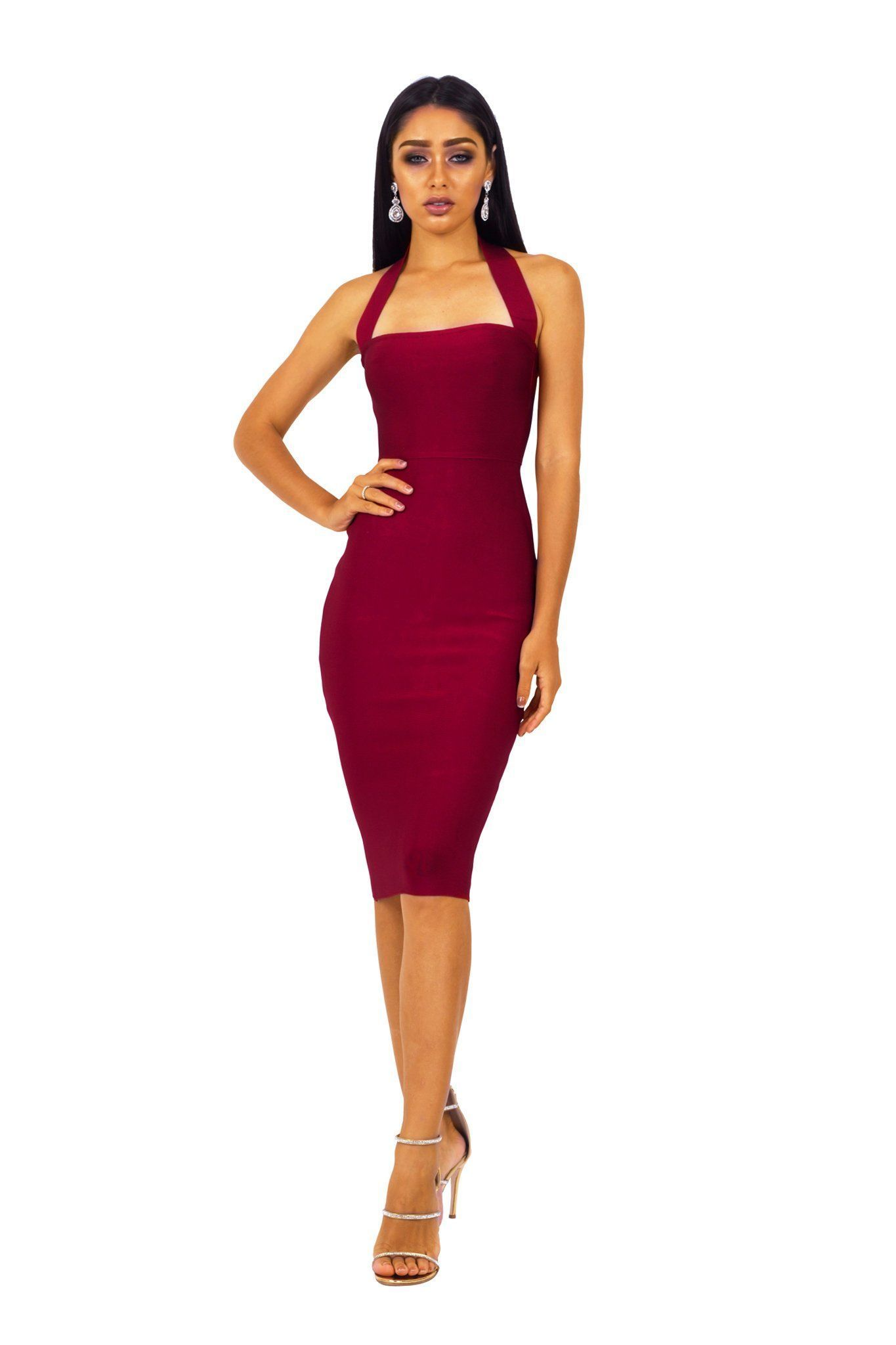 Beverly Halter Midi Dress Wine Dresses Necklines For Dresses Halter Midi Dress [ 2048 x 1365 Pixel ]