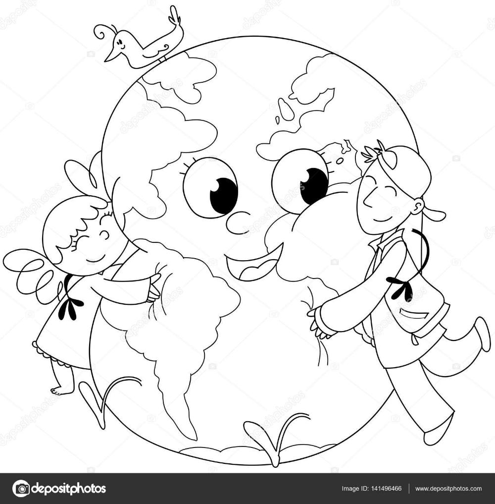Disegno Bambino Da Colorare.Bambini Da Colorare Che Abbraccia La Terra Foto Stock Con Disegno