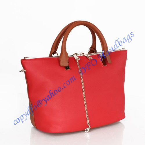 57e1a26314 Chloe Leather Tote CHL3029 carmine red camel sale at USD368.00 - Free  Worldwide shipping