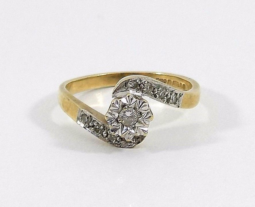 Details About Vintage Ladies 9ct Gold Diamond Crossover Ring Uk Size K U S Size 5 1 4 Crossover Ring Diamond Vintage Ladies