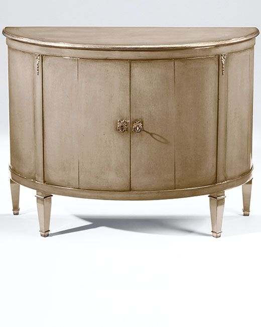 Luxury Furniture   Hand Painted Furniture   Demilune Wood Cabinet With  Lightly Distressed Lacquered Taupe