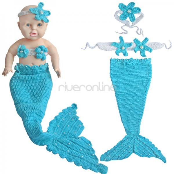 3pcs Newborn-12M Baby Infant Mermaid Outfit Crochet Knit Tail ...