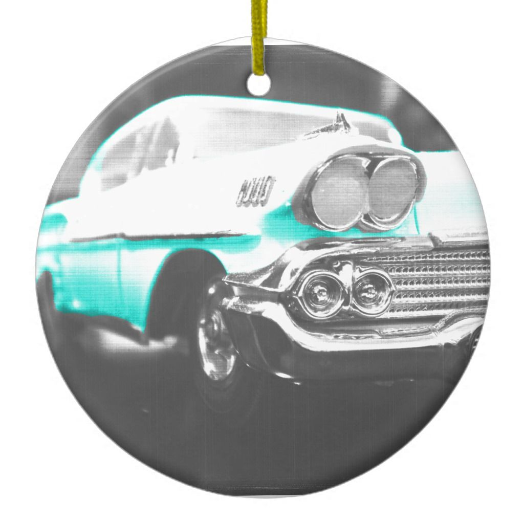 1958 chevy impala bright blue classic car ceramic ornament | Zazzle.com