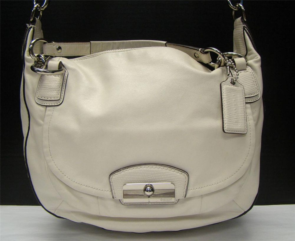 Coach 19295 white kristin round satchel handbag leather zip close ...