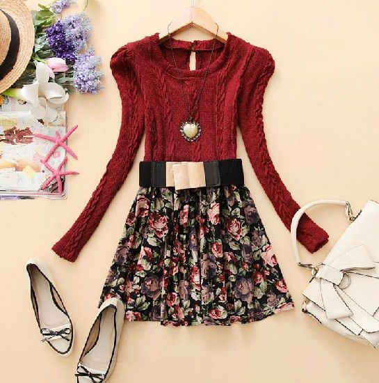 Wine Red Long Sleeve Floral Cable Knit Dress