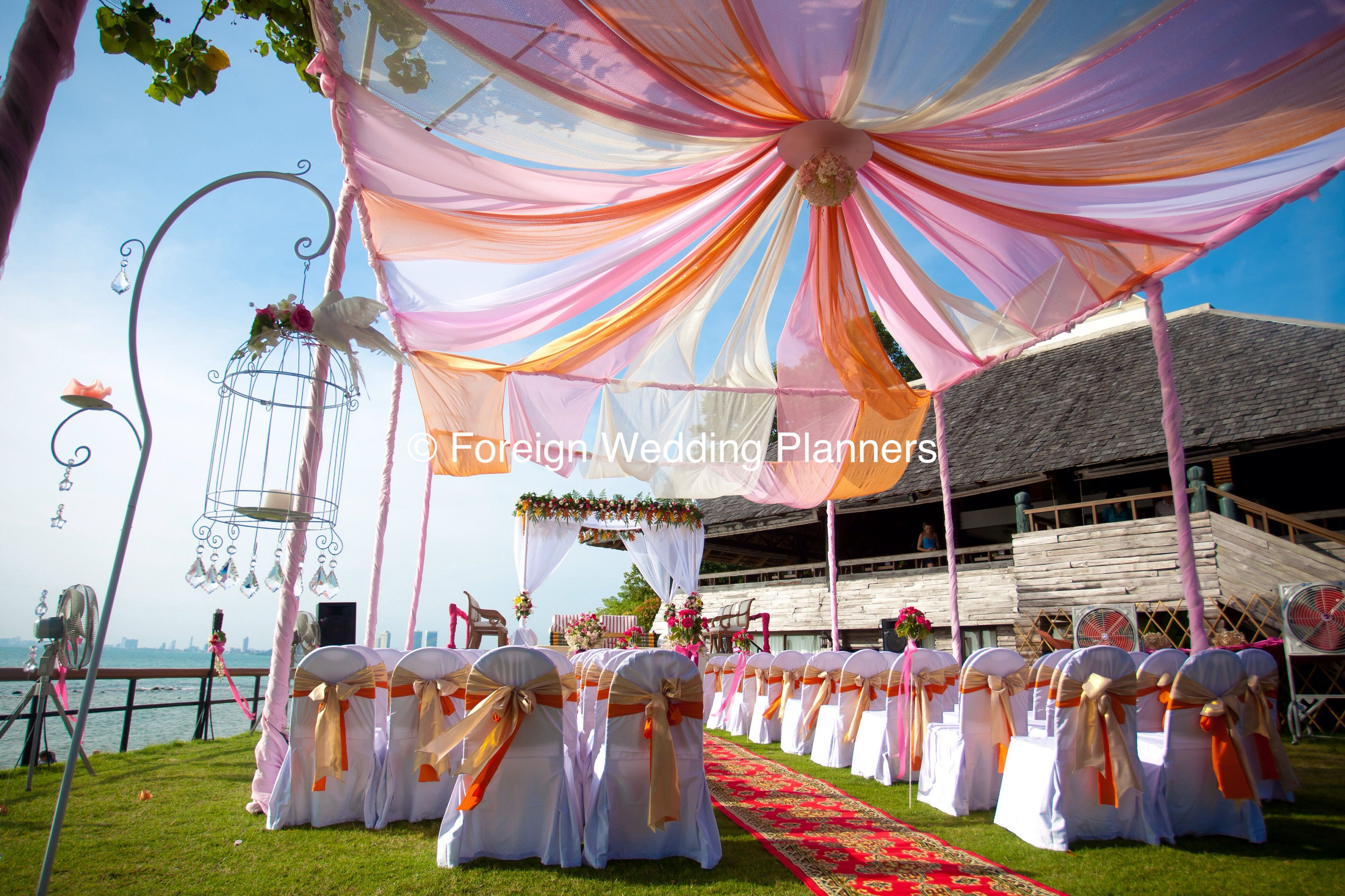 Wedding mandap decoration images  Cool summer colours for marquee for wedding Mandap on Pattaya beach