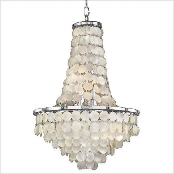 Timeless 9-Light Chrome Capiz Chandelier - 18819379 - Overstock.com Shopping - Great Deals on Chandeliers & Pendants
