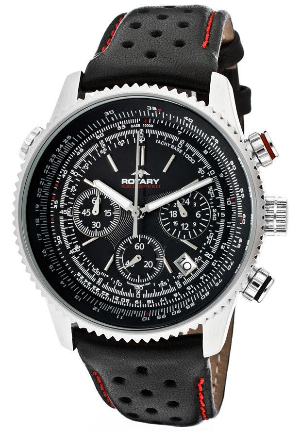 6066e56b2ee Rotary GS00100 04 Men s Aquaspeed Chronograph Black Dial Black Genuine  Leather