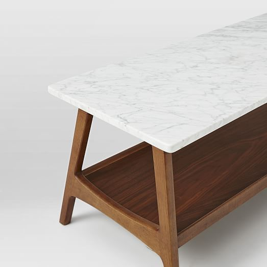 Excellent Reeve Mid Century Coffee Table Rectangle Marble Pecan At Machost Co Dining Chair Design Ideas Machostcouk