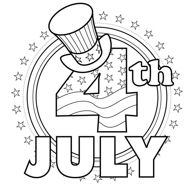 4 Of July Coloring Illustration Below To Receive A Printer