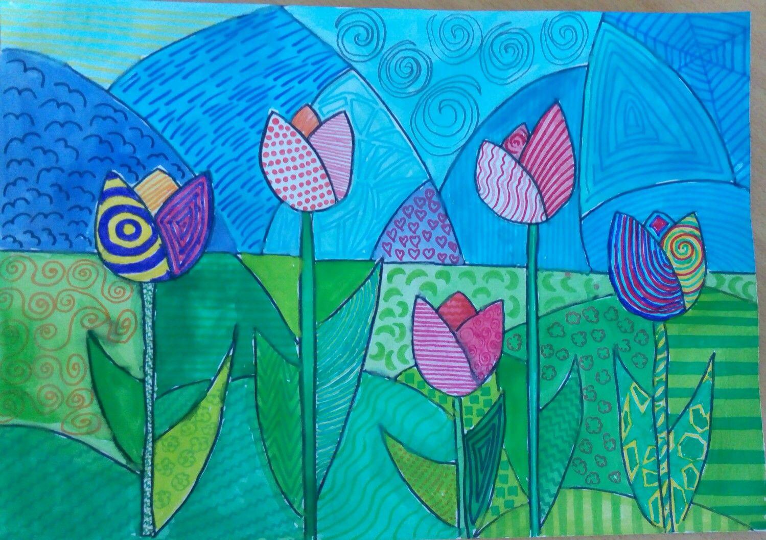 Pop-art tulips