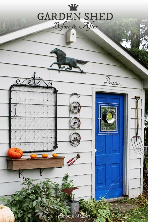 How To Paint Vinyl Siding Shed Makeover Empress Of Dirt Shed Makeover Painting Vinyl Siding Shed Plans