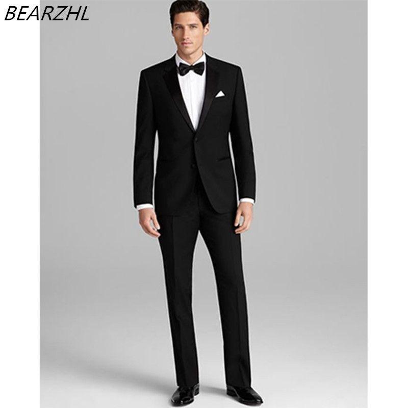 bespoke suit groom tuxedo black slim fit men suits for wedding ...