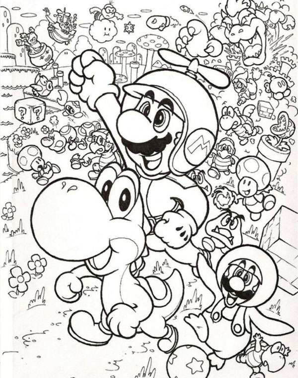 Mario And Luigi Fly With Little Dragon In Mario Brothers Coloring