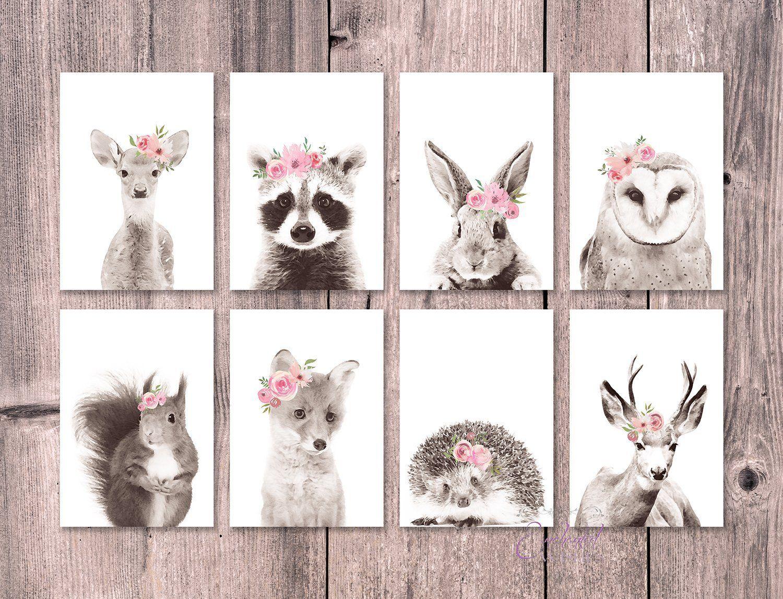 Woodland Animal Watercolour Prints Grey Pink Floral Set of