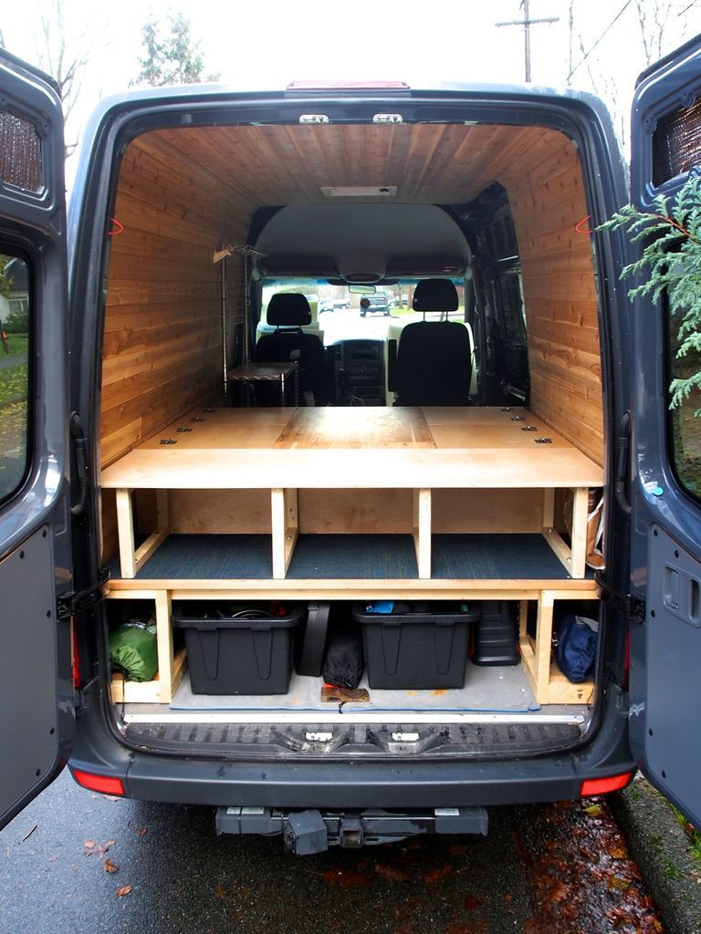 Bed table and benches for camper van all in one bed for Camper van interior designs