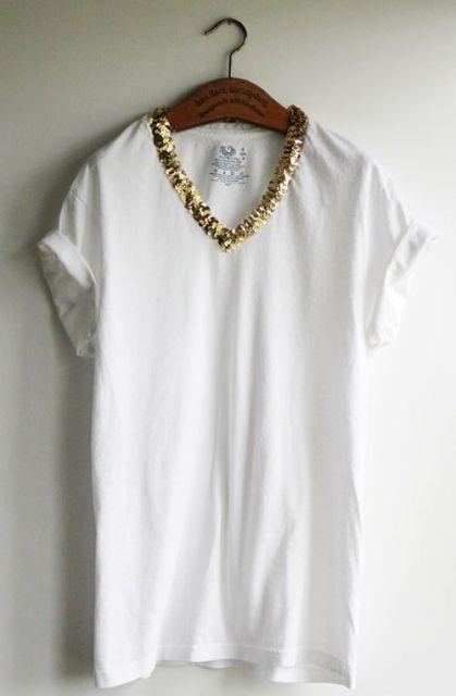 camiseta manga dobrada Roupas Bordadas 8cf18a6001976