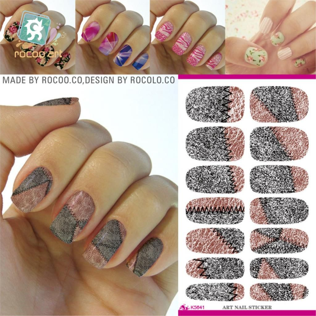 2016 New Arrive Retro Nail Art Stitching Design Water Transfer Manicure Decals Minx Finger Nail Sticker Decoration Foil Patch