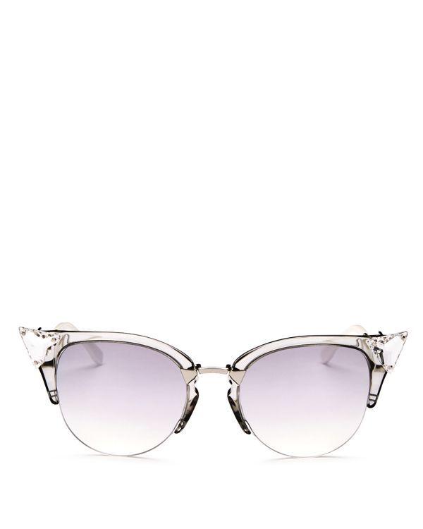 bb74f29f02c8 Fendi Crystal Embellished Mirrored Cat Eye Sunglasses