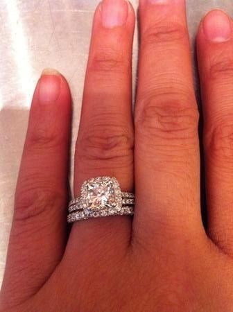 Cushion cut split shank halo engagement ring love the thin triple