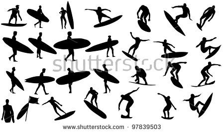 Surfer Silhouette Sport Summer Surf Vector Design Illustration