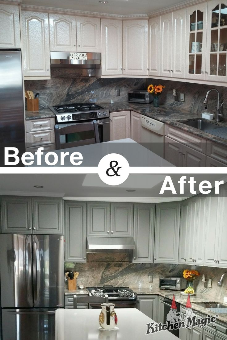 From A Dated Glossy Cream Color To Stylish Suede Gray This Kitchen Was C Kitchen Transformation Kitchen Remodeling Services Kitchen Remodel Before And After