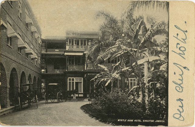Myrtle Bank Hotel: This is a view of the building constructed for the 1891 Exhibition in Jamaica and before the great earthquake of 1907.