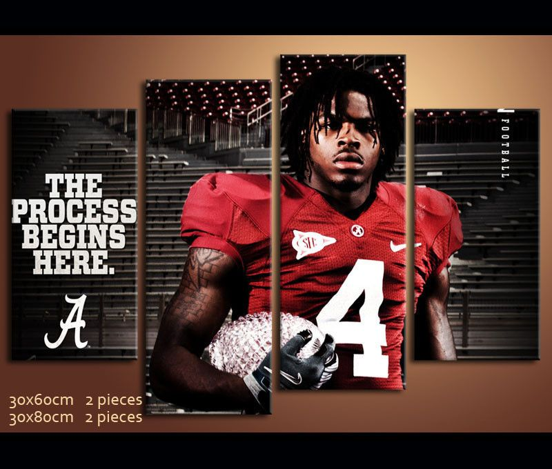 4 Pieces Hd Canvas Prints Football Alabama For Wall Decor Alabama Football Pictures Alabama Crimson Tide Logo Alabama Football